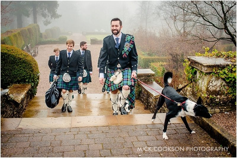groomsmen in kilts at eaves hall