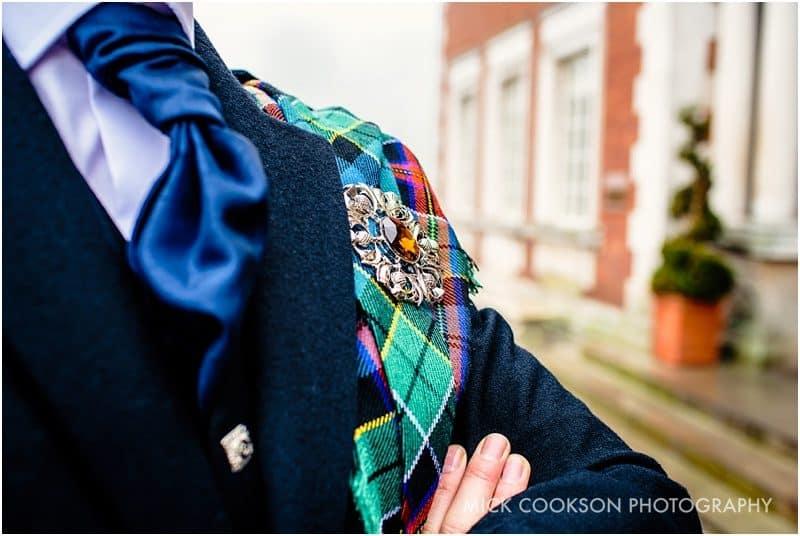 groomsman tartan detail