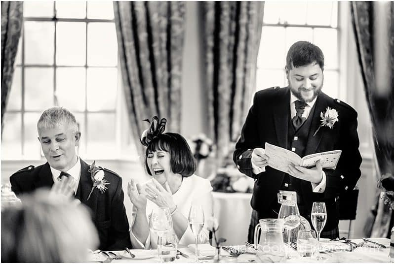 wedding laughter during speeches
