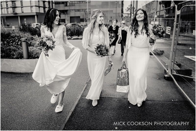 bride and bridesmaids in media city