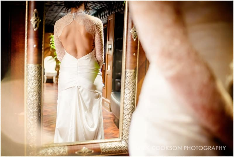 rear view of wedding dress in a mirror