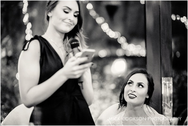 bride looks at her sister