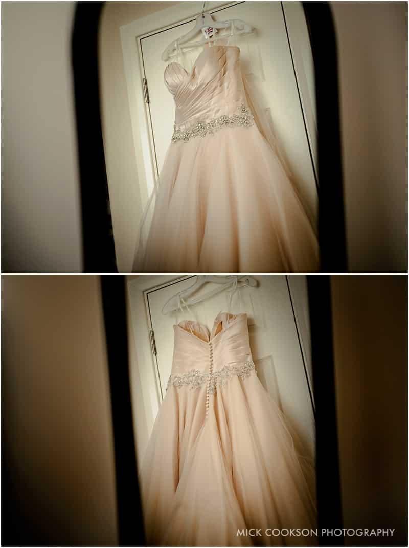 wedding dress hangingup