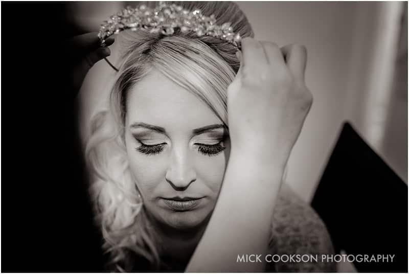bride having tiara fitted