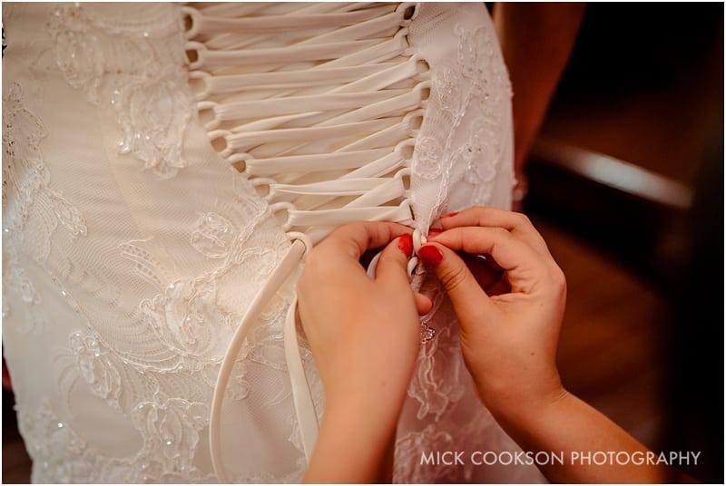 wedding dress tied