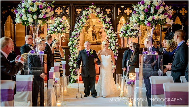 bride and =her father at peckforton castle
