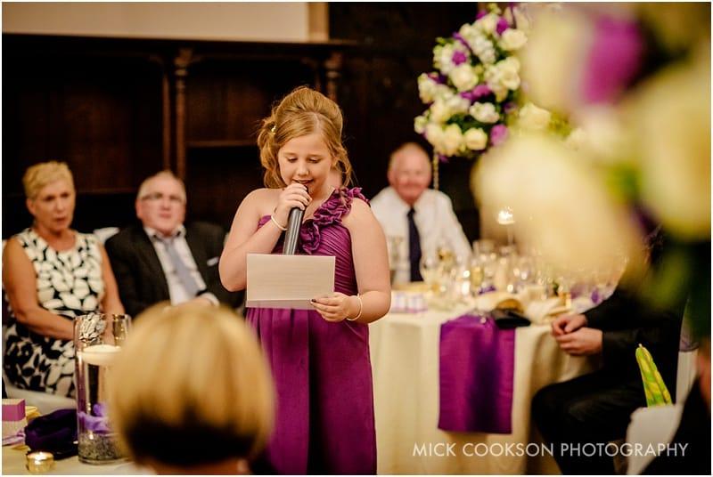 daughter of bride giving a speech