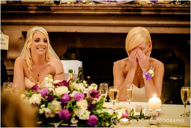 emotional bride at a same sex wedding