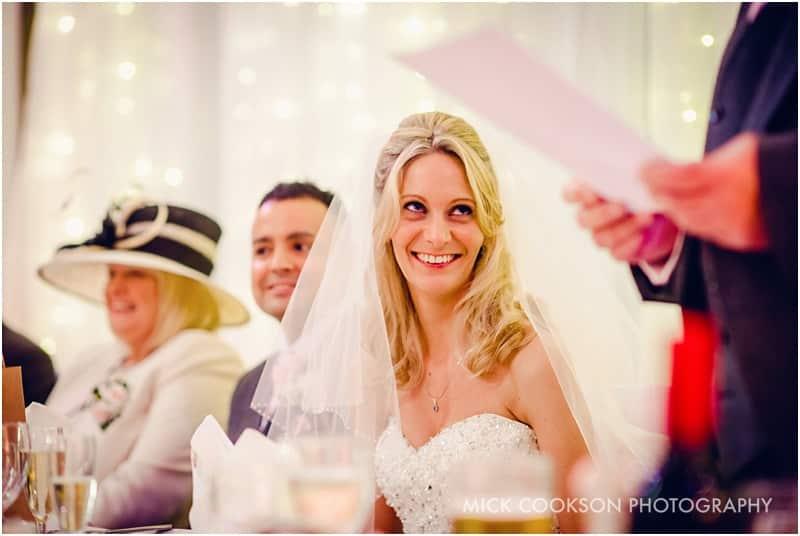 happy bride at a shrigley hall wedding