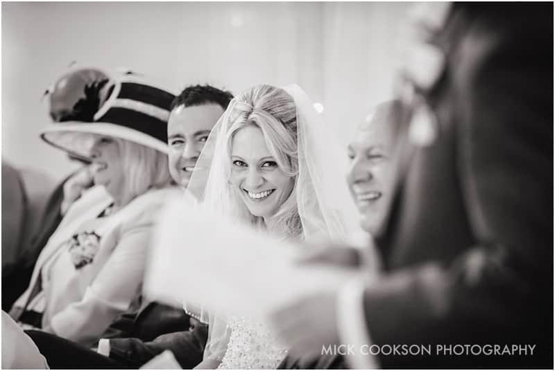 smiling bride at a wedding ceremony
