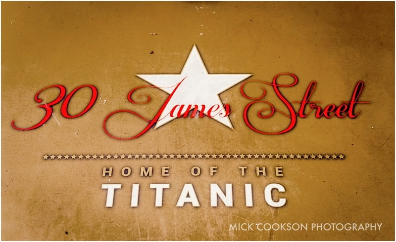 titanic sign at 30 james street