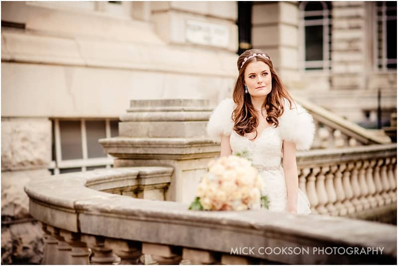bride outside the liver building