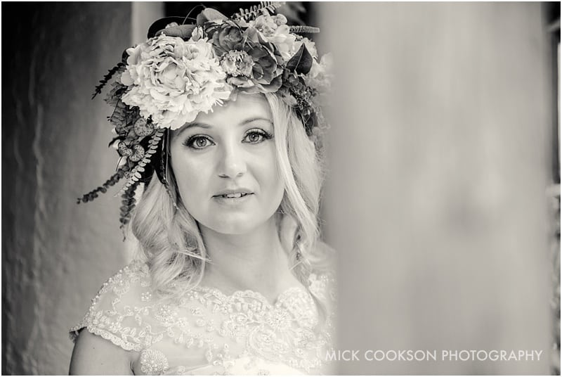 black and white photo of a lancashire bride