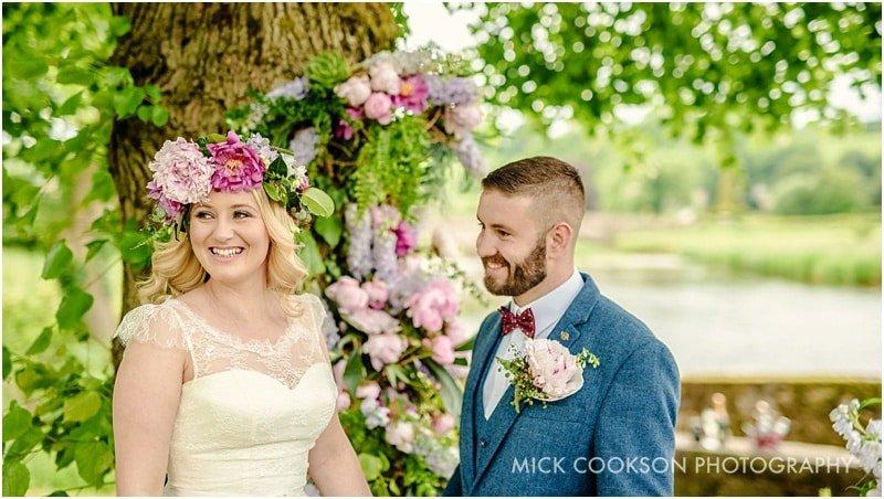 bride and groom at sawley lancashire