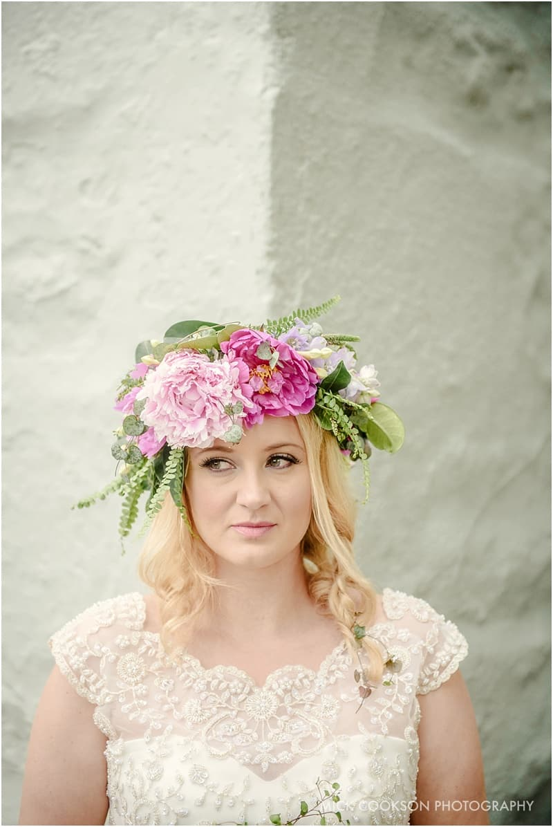 Bride looking coy