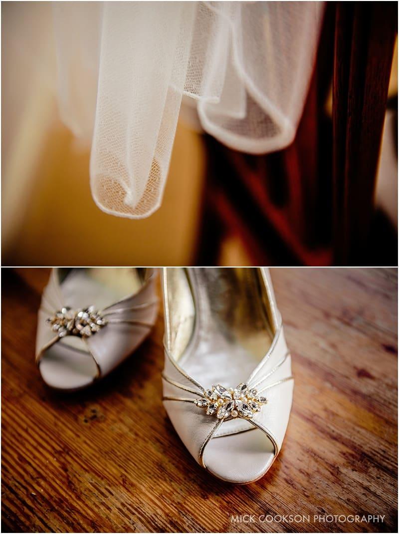 wedding shoes on a farm