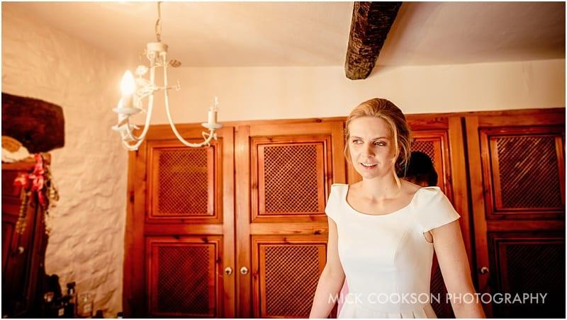 smiling bride at her tipi wedding