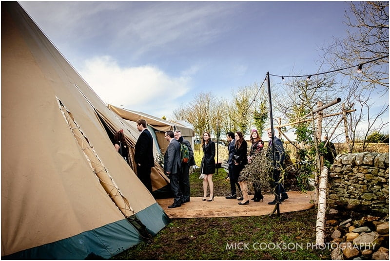 wedding guests at a winter tipi wedding