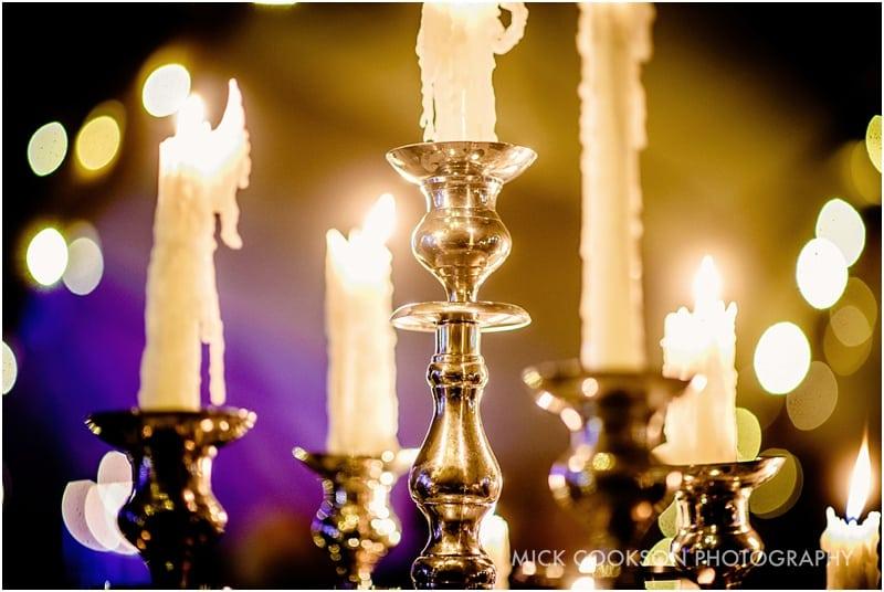 candles inside a wedding tipi