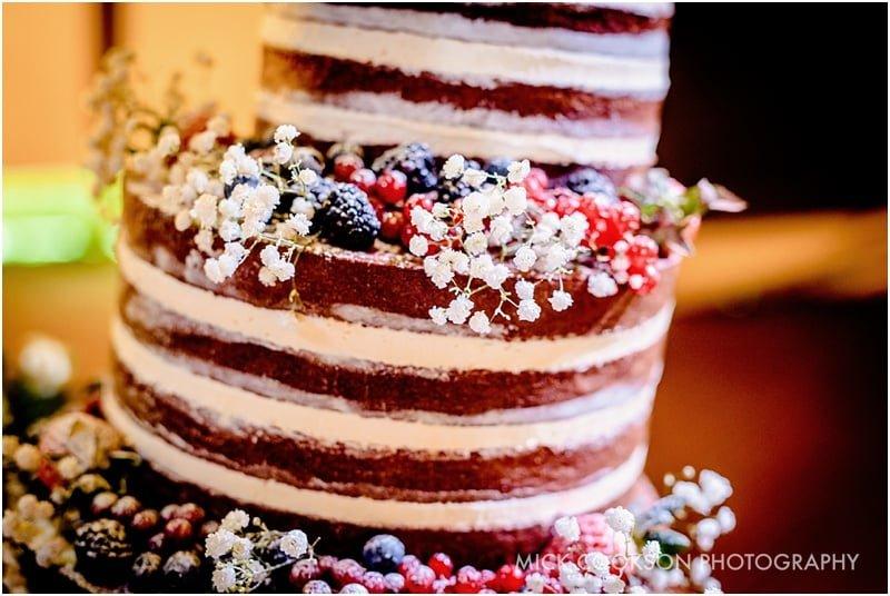 naked wedding cake at a tipi wedding