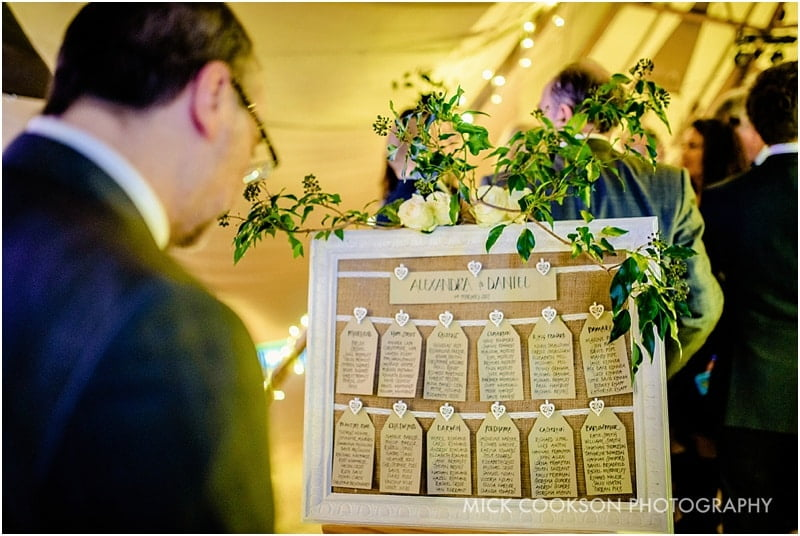 wedding guest looking at a table plan