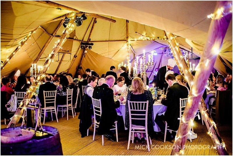 wedding reception in a tipi