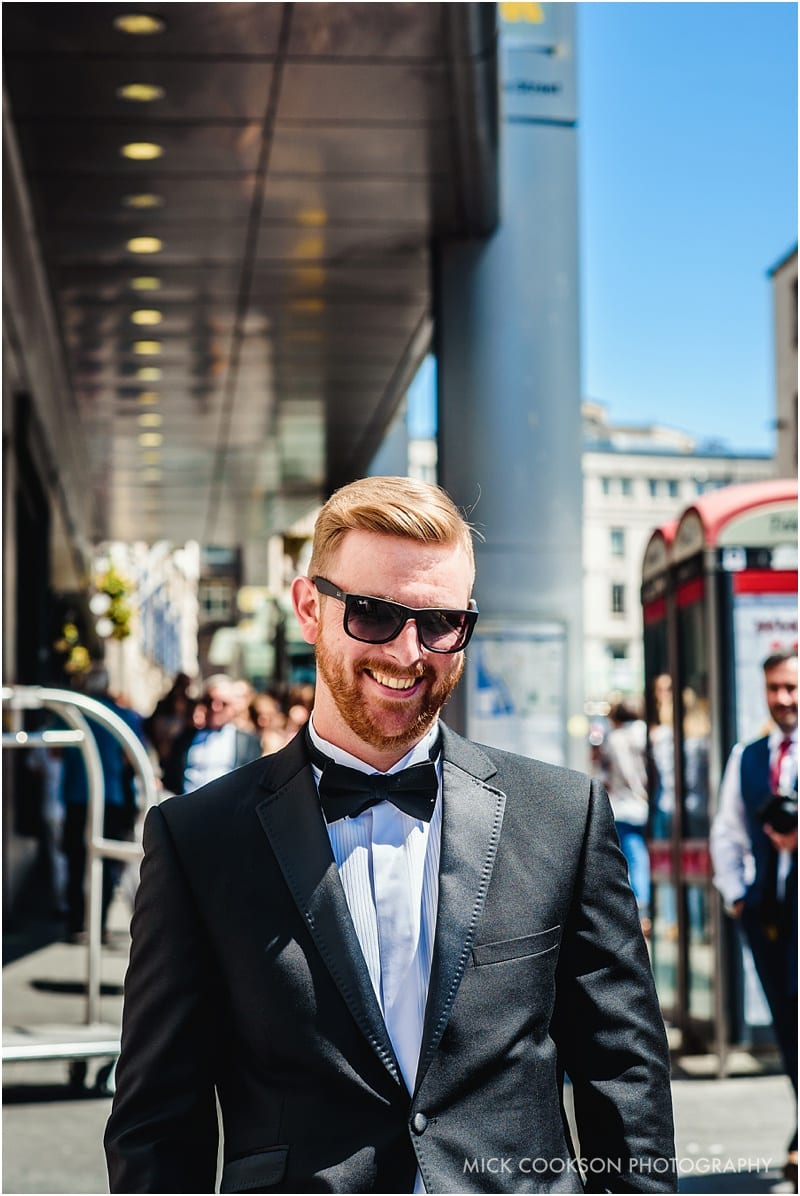 groom in a tuxedo in liverpool