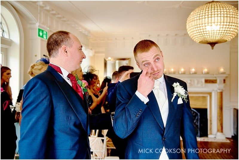 emotional groom at eaves hall