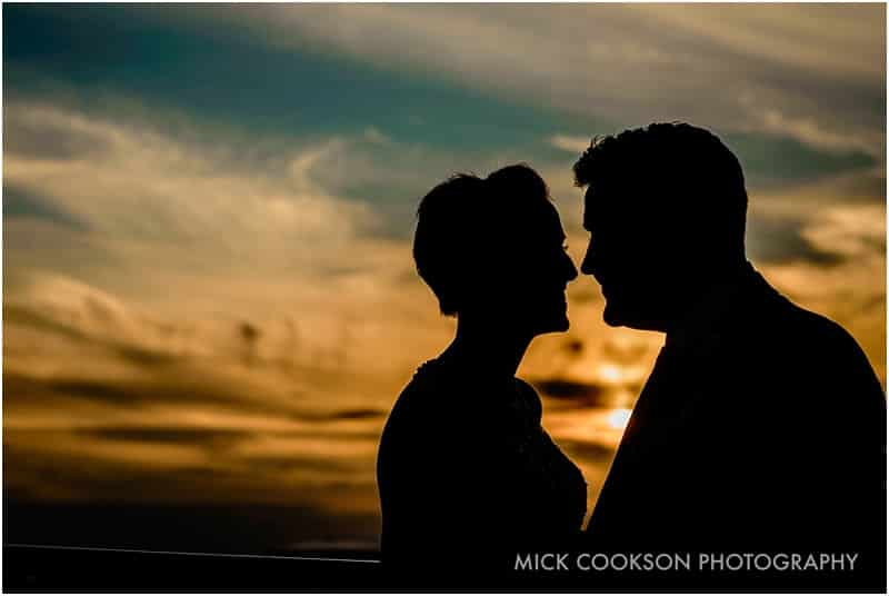 bride and groom silhouette in media city