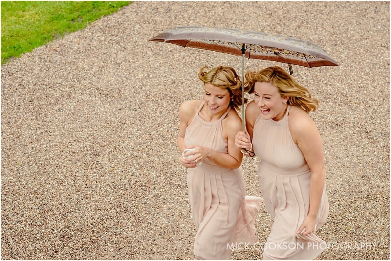 bridesmaids battling the wind