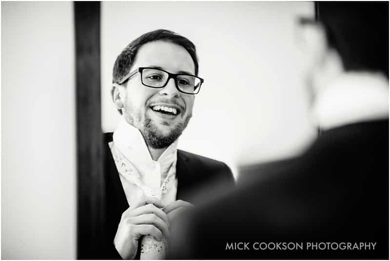 happy groom in preston wedding