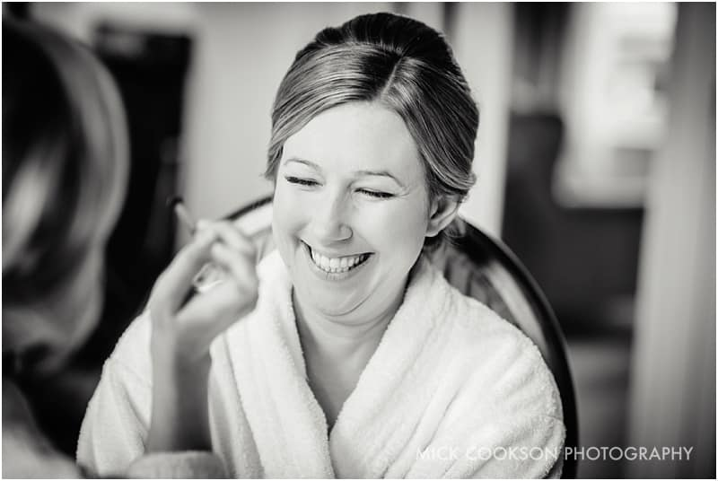 smiling bride during wedding preparations