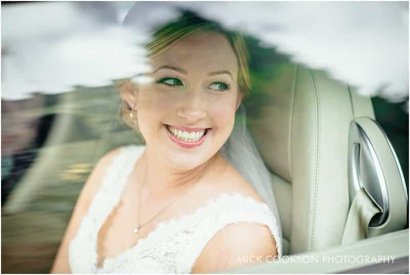 bride arriving in a bentley
