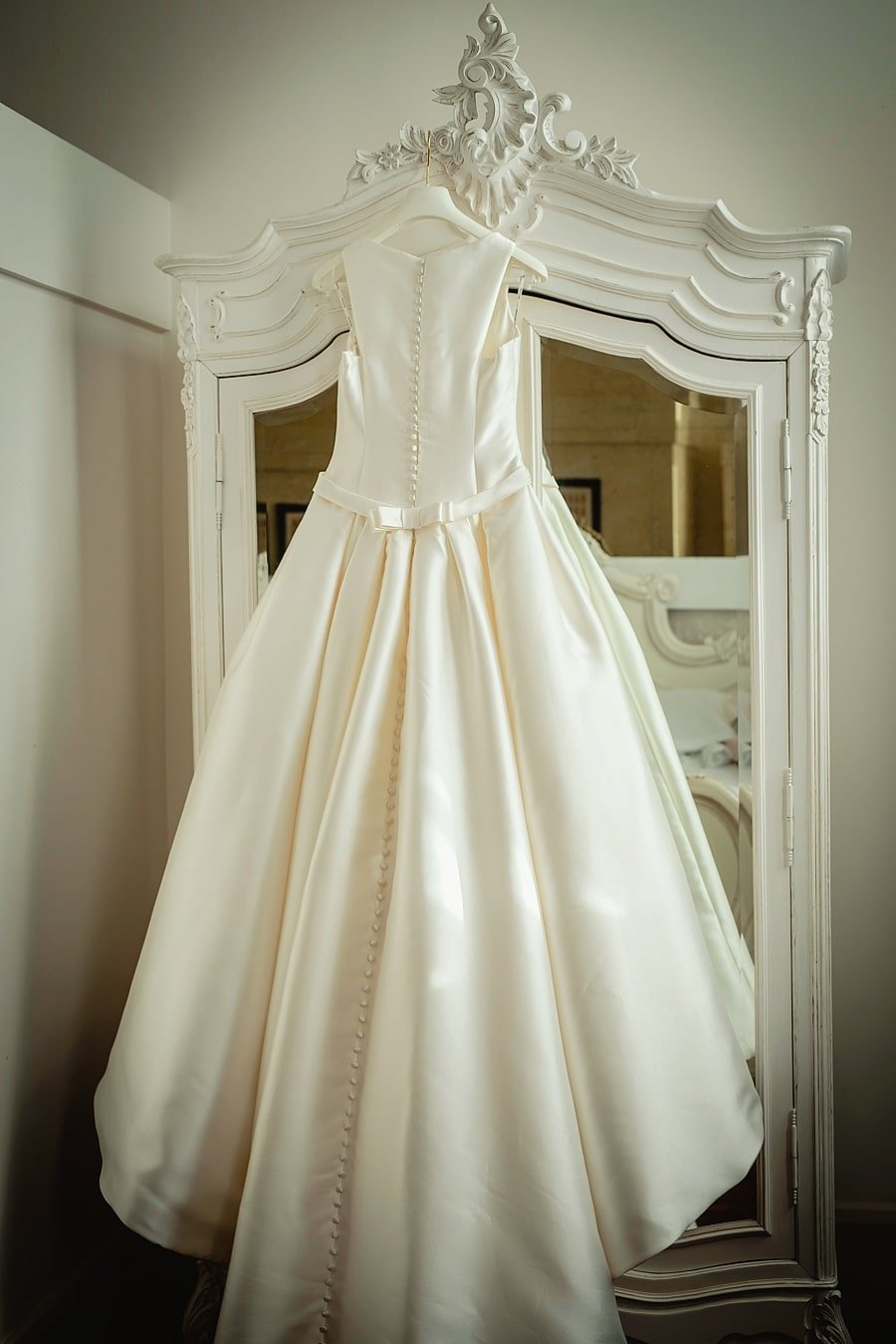 wedding dress hanging up at great john street hotel