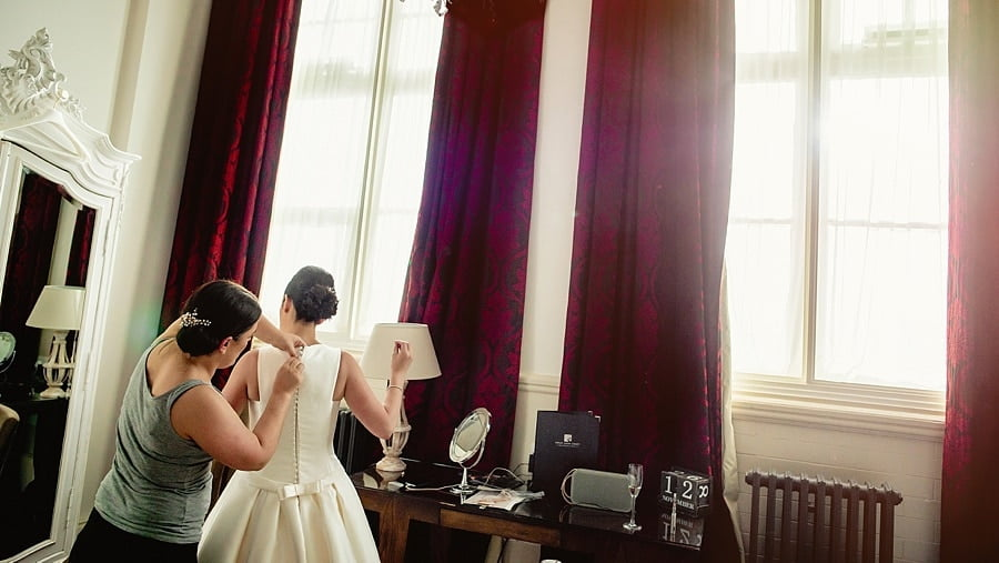bride getting ready at great john street hotel