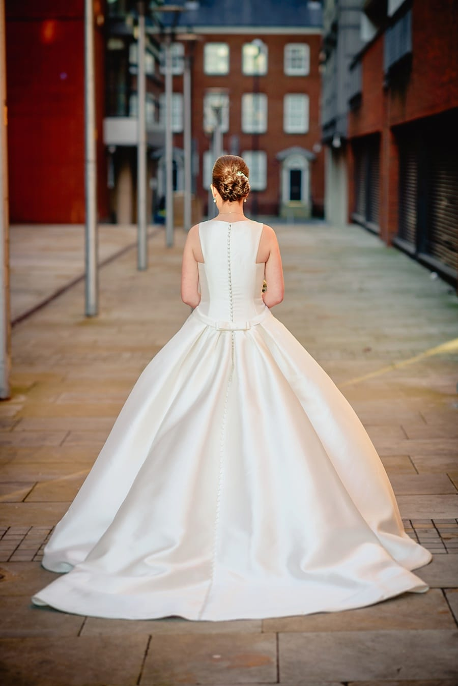 stunning wedding dress photo outside great john street hotel