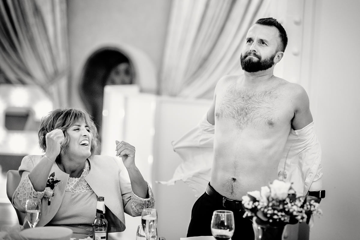 best man strips off during speech