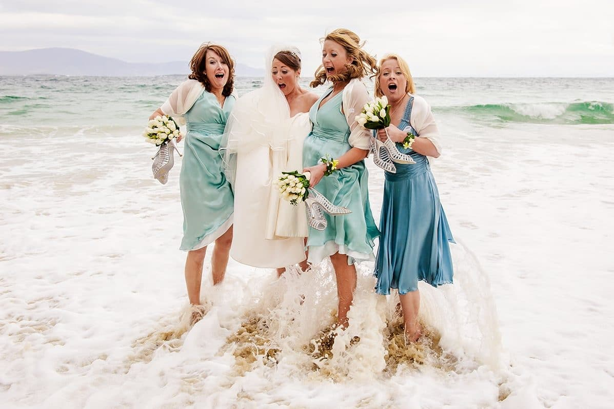 bridesmaids in the sea