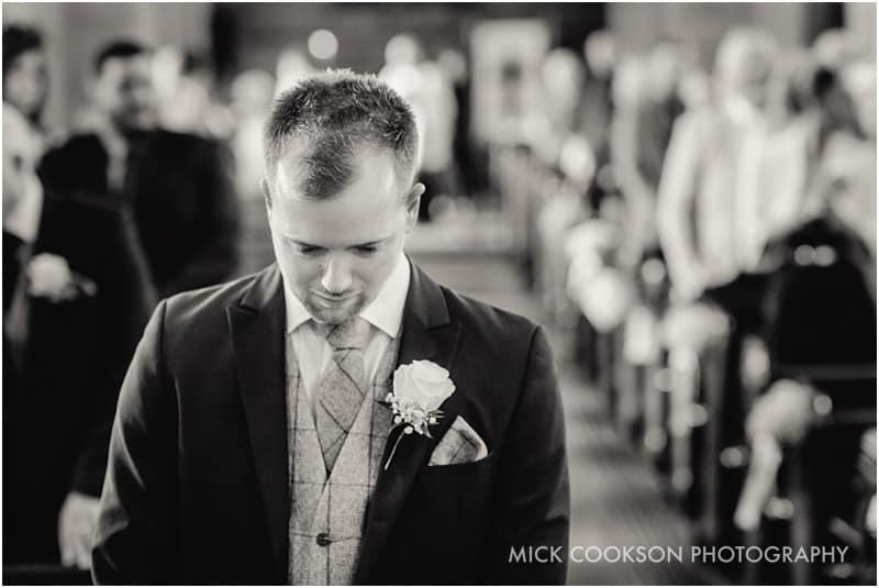 nervous groom in church
