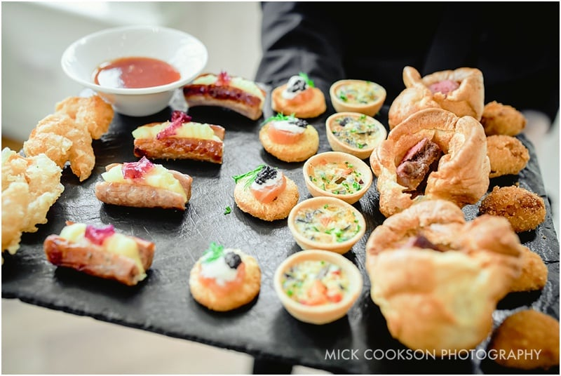 mouthwatering canapes at mitton hall