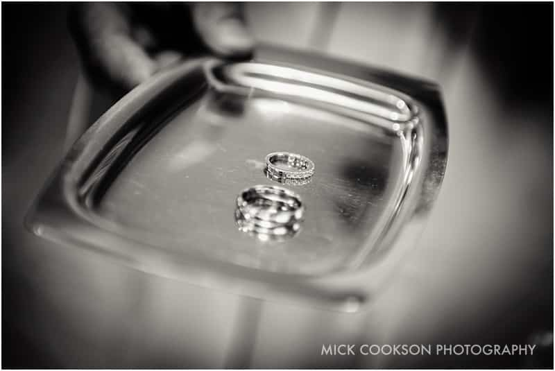 wedding rings on a plate