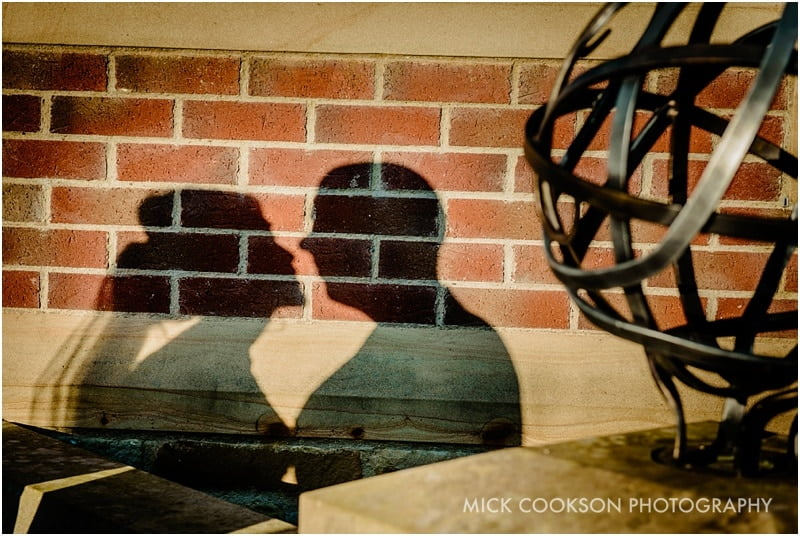 bride and groom shadows on a wall at northcote
