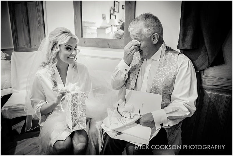 emotional father of the bride at home