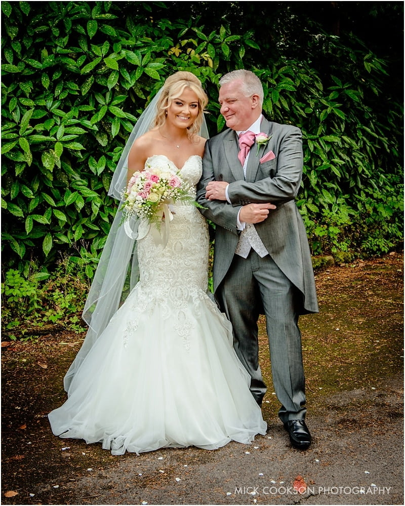bride and dad outside church