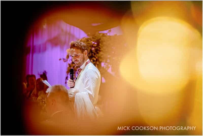 groom speech at rivington hall barn