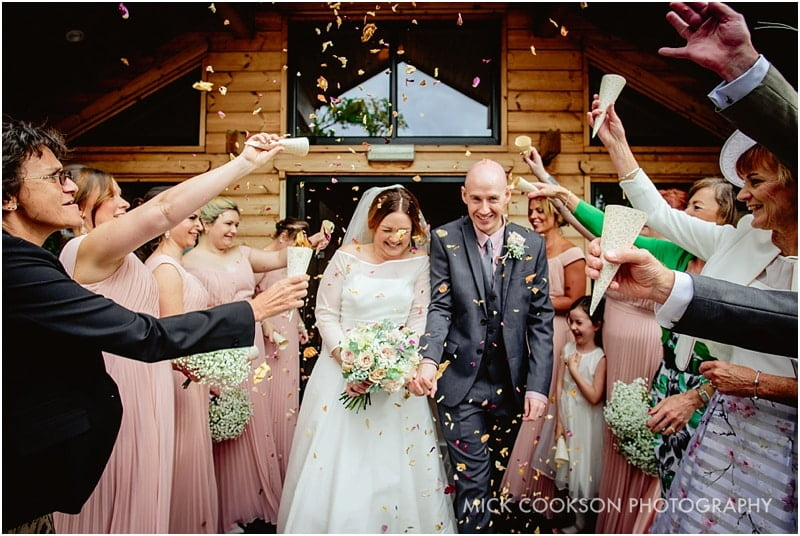 wedding confetti being thrown at styal lodge