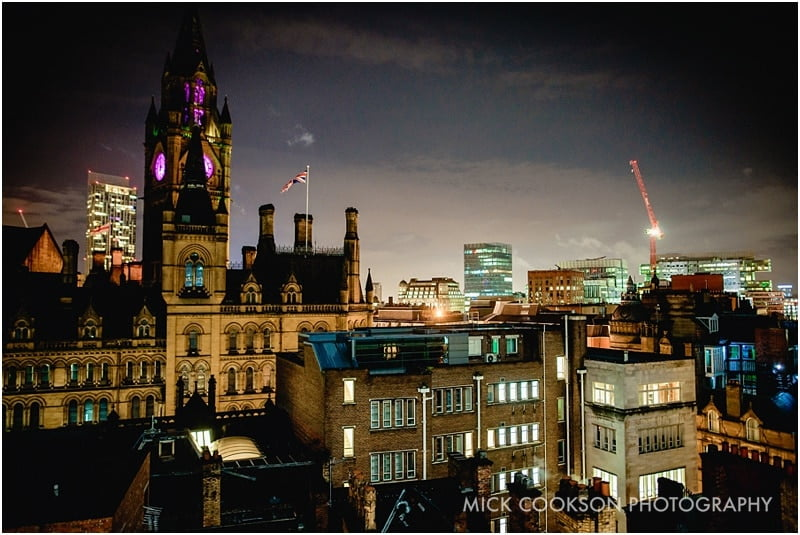 view of manchester from king street townhouse at night