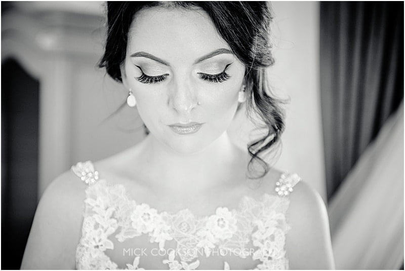 black and white photo of a bride at stirk house