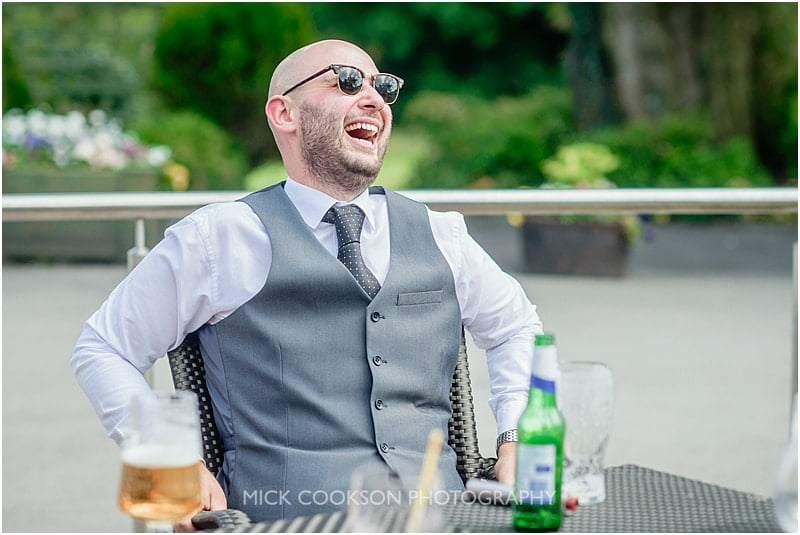 laughing wedding guest at stirk house