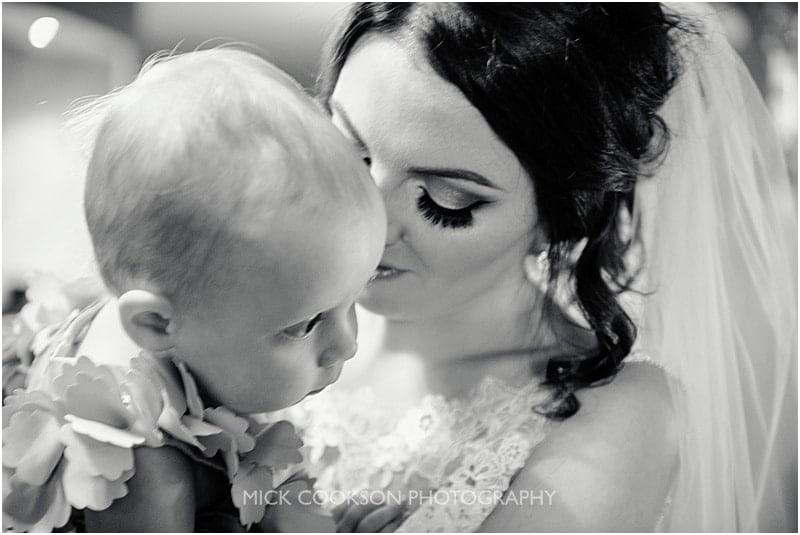 bride and her baby daughter